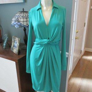 Vince Camuto Green Stretch Tie waist Dress 4
